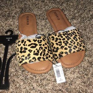 Torrid Leopard Calf Hair Slide Sandals 6